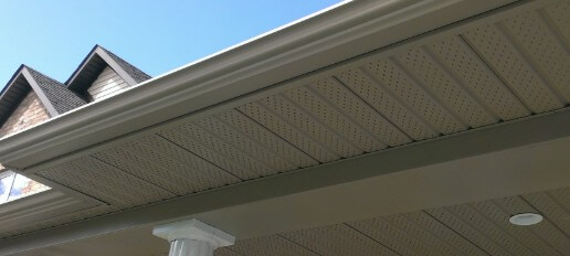 newly installed Soffit and gutters on Okotoks home