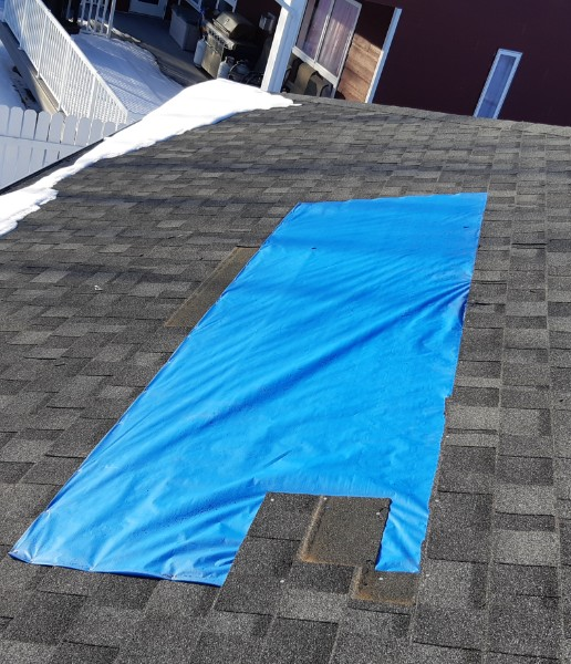 Residential roof repair project