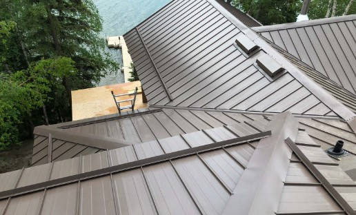 Side-view metal roof completed on residential home
