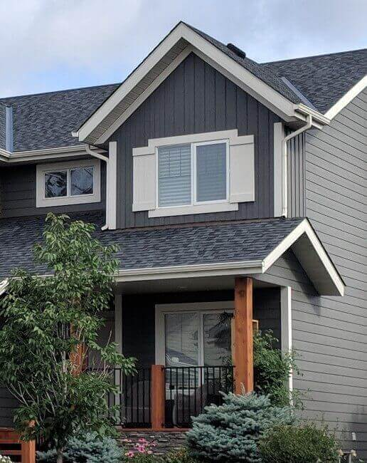 Hardie board on a high-end home in Calgary